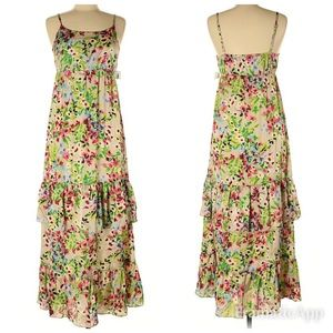 NWT Old Navy Taupe Floral Maxi Dress SZ S